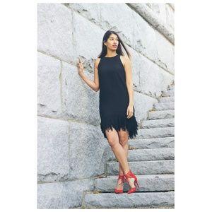 BANANA REPUBLIC FRINGE HEM KNEE LENGTH BLACK DRESS